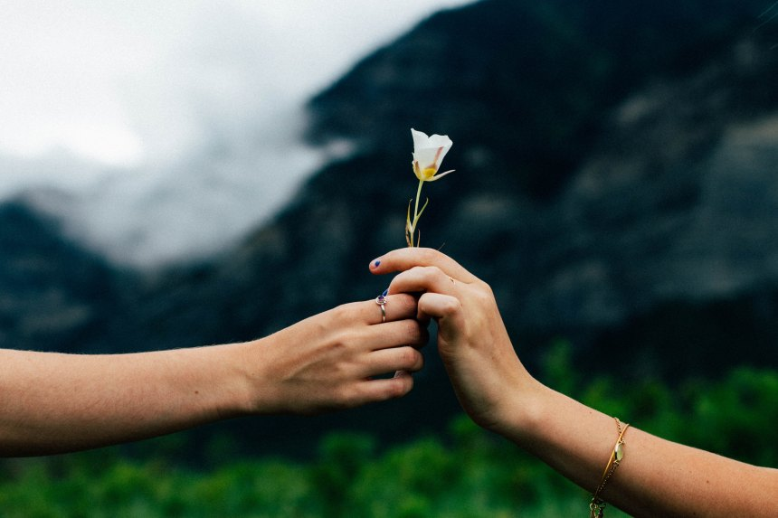 one hand passes a small white flower to another hand with a beautiful mountain backdrop, one girl wears a ring one girl wears a bracelet