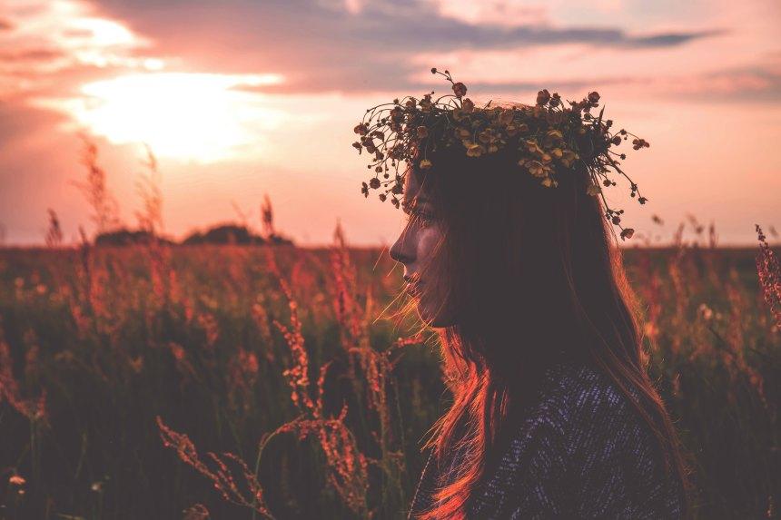 girl flower crown sunset